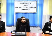Justice Sanjeev Kumar interacting with Bar Members in Ganderbal on Saturday.