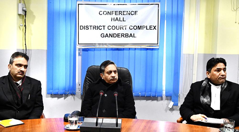 Justice Sanjeev Kumar interacting with Bar Members in Ganderbal on Saturday.
