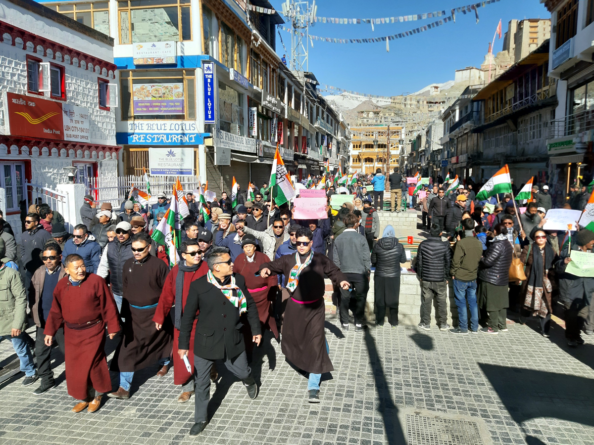 Congress leaders taking out rally in Leh on Wednesday. — Excelsior/Morup Stanzin