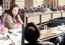 Director I&C Jammu, Anoo Malhotra and others during an interaction programme in Jammu.
