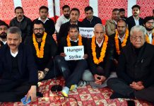 Lawyers sitting on hunger strike on Wednesday. — Excelsior/Rakesh