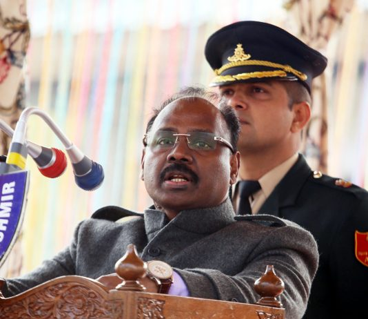 Lieutenant Governor Girish Chandra Murmu addressing the Passing Out Parade at STC Sheeri in North Kashmir's Baramulla district on Wednesday. —Excelsior/Aabid Nabi