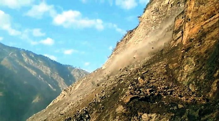 A view of landslide at Digdol near Ramban on Jammu-Srinagar National Highway on Saturday. -Excelsior/Parvaiz Mir