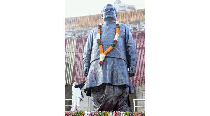 Prime Minister Narendra Modi unveils the statue of Atal Bihari Vajpayee in Lok Bhavan, Lucknow, Uttar Pradesh on Wednesday.