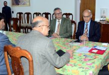 Lieutenant Governor G C Murmu chairing first meeting of the Administrative Council in Jammu on Tuesday.