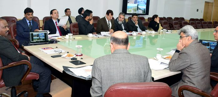 Lieutenant Governor Girish Chandra Murmu presiding over a meeting of Planning, Development and Monitoring Department in Jammu on Tuesday.