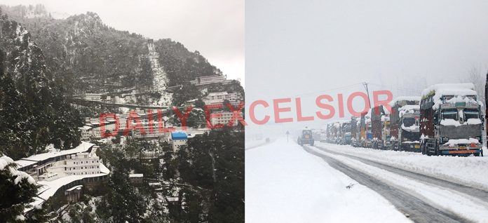 Fresh snowfall at Mata Vaishno Devi Ji shrine (left) and trucks stranded amidst heavy snowfall at Anantnag in Kashmir on Friday. (right) — Excelsior pics by Karandeep & Sajad Dar