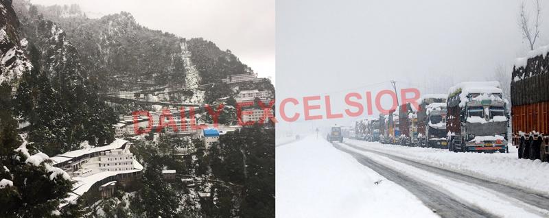 Fresh snowfall at Mata Vaishno Devi Ji shrine (left) and trucks stranded amidst heavy snowfall at Anantnag in Kashmir on Friday. (right) — Excelsior pics by Karandeep & Sajad Dar