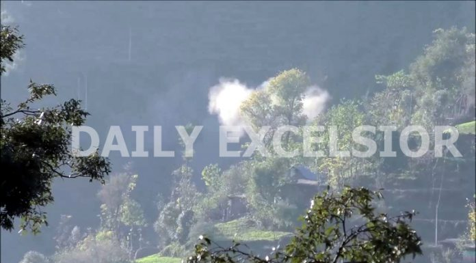 A mortar shell explodes in a forward village in Poonch sector on Tuesday. -Excelsior/Gurjitbhajan