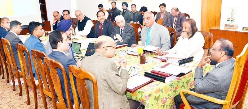 SMVDSB meeting being chaired by Lieutenant Governor Girish Chandra Murmu in Jammu on Thursday.