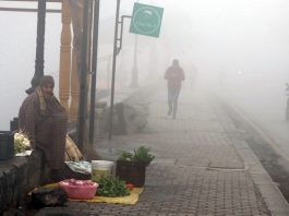 Dense fog in Srinagar on Sunday. — Excelsior Shakeel
