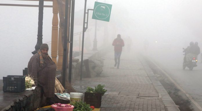 Dense fog in Srinagar on Sunday. — Excelsior Shakeel