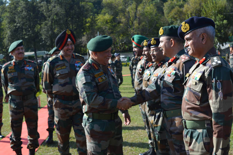 Army chief Gen Bipin Rawat meeting with Army officials at Northern Command Headquarters in Udhampur on Saturday.