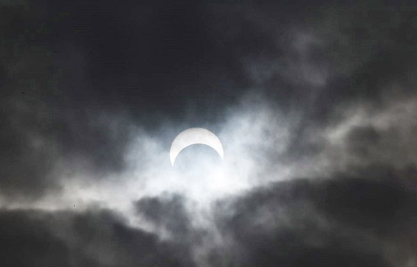 A view of the Sun during Solar eclipse in Hyderabad on Thursday. (UNI)