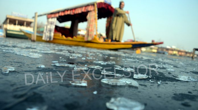 Frozen parts of Dal lake. — Excelsior/Shakeel
