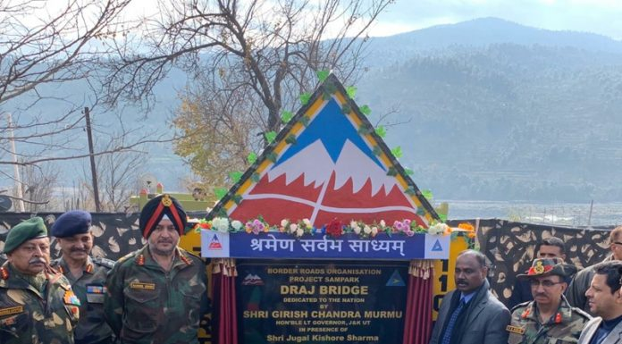 Lieutenant Governor Girish Chandra Murmu inaugurating Draj bridge in Rajouri on Monday.