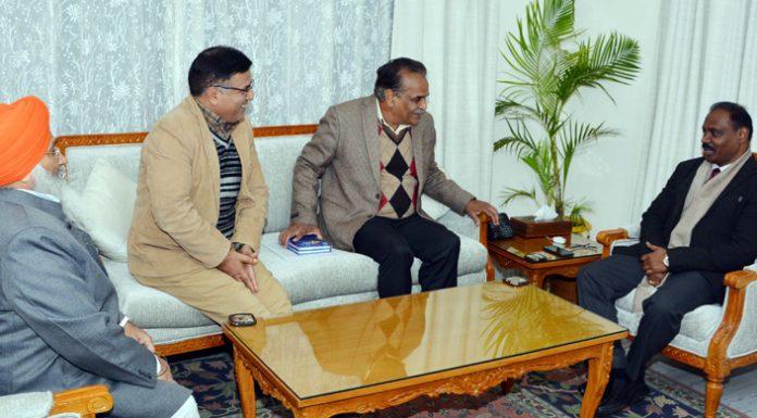 Lieutenant Governor Girish Chandra Murmu meeting delegation of former MLCs at Jammu on Wednesday.
