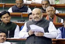Union Home Minister Amit Shah speaking on Kashmir situation in Lok Sabha on Tuesday.