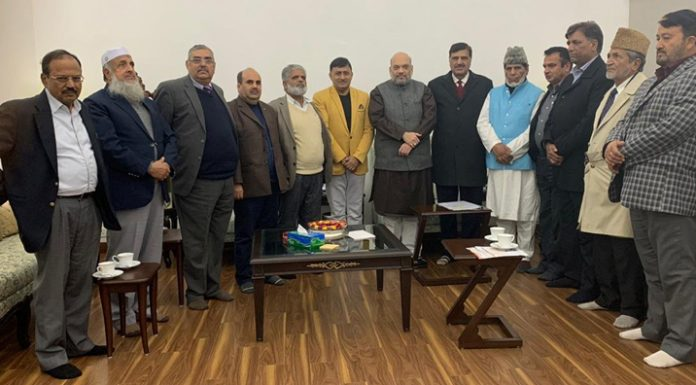 Pahari leaders from J&K in a meeting with Union Home Minister Amit Shah and NSA Ajit Doval in New Delhi on Wednesday.