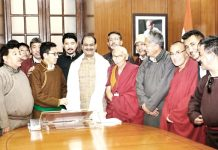 Ladakh delegation in a meeting with Lok Sabha Speaker Om Birla in New Delhi on Friday.