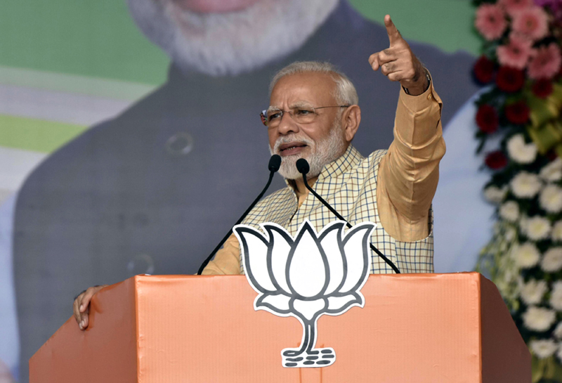 Prime Minister Narendra Modi addressing an election campaign rally at Khunti in Jharkhand on Tuesday. (UNI)