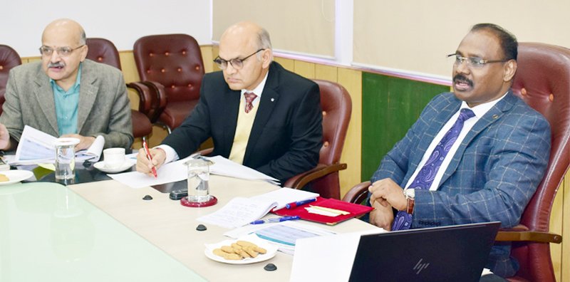 Lieutenant Governor Girish Chandra Murmu reviewing functioning of the Government departments in Jammu on Friday.