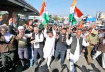 Sarpanchs and Panchs taking out protest march in Jammu on Friday. -Excelsior/Rakesh