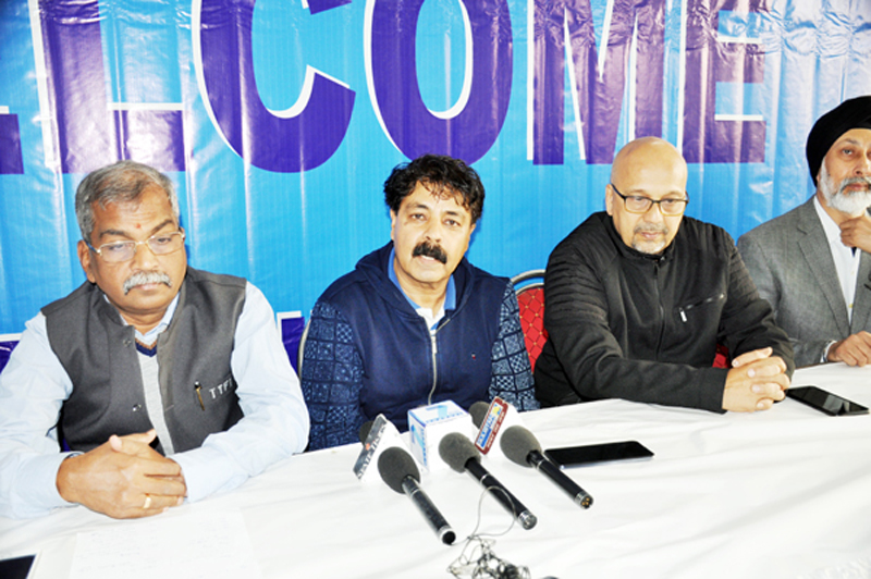 Organisers of 81st UTT Junior and Youth Nationals Table Tennis Championships addressing media persons in Jammu on Sunday. -Excelsior/Rakesh