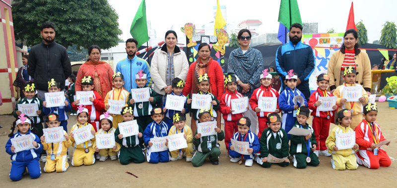 Children posing for a group photograph during Sports Day celebration at Elementary School of KCPS in Jammu.