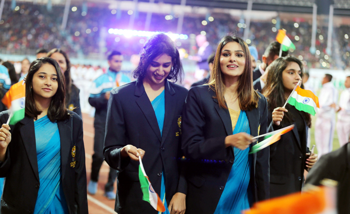 Players of delegation of India march during the inauguration of 13th South Asian Games in Kathmandu, Nepal. (UNI)