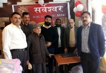 Corporator Anil Kumar, owner of Sarveshwar Group, Suraj Parkash Gupta and others at newly opened store of the company at Greater Kailash, Jammu.