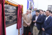 Advisor to Lt Governor Farooq Khan along with other dignitaries inaugurating new Sports Complex at MA Stadium in Jammu. —Excelsior/Rakesh