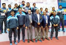 Indian men and women TT teams posing for a group photograph after bagging gold medals in South Asian Games at Kathmandu in Nepal.