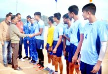 DG Sports, Dr Saleem-ur-Rehman interacting with spikers at Khel Gaon, Nagrota in Jammu on Tuesday.