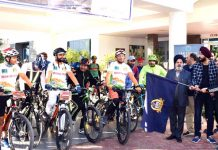 Cycle rally being flagged off by Dy Excise Commissioner during Anti Drug Cyclothon on Sunday.