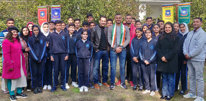 Lawrence Public School students and school management posing alongwith ex student and ace cricketer Abdul Samad in Jammu.