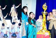 Students performing (left) and Advisor to LG, Farooq Khan lighting ceremonial lamp during Annual Day celebration.
