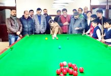 SSP Randeep Kumar inaugurating Snooker & Billiards C'ship at MA Stadium on Saturday. -Excelsior/Rakesh