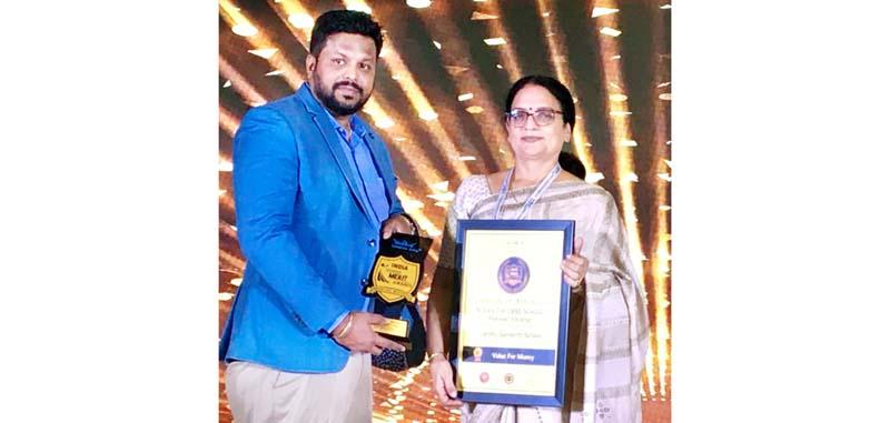 Rohini Aima, Principal cum Vice Chairperson JSS receiving prestigious award.