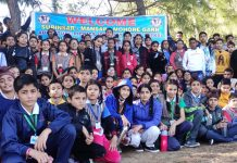Shiksha Niketan students posing for group photograph during their trek in the Mansar- Mohore Garh area.