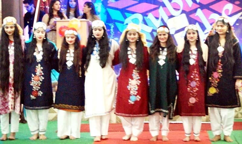 Students performing on a Kashmiri song during Annual Award Ceremony.