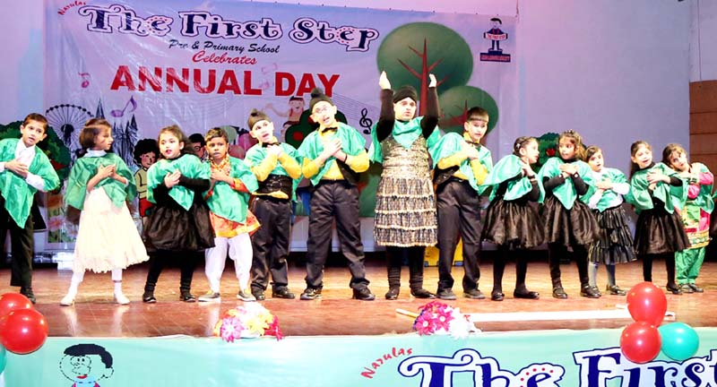 Children presenting a cultural item during Annual Day celebration at Narulas The First Step School in Jammu.