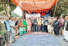 Farmers along with officers of Agriculture Department during a training programme in Reasi.