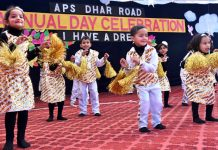 Children presenting dance item while celebrating Annual Day at APS Dhar Road in Udhampur.