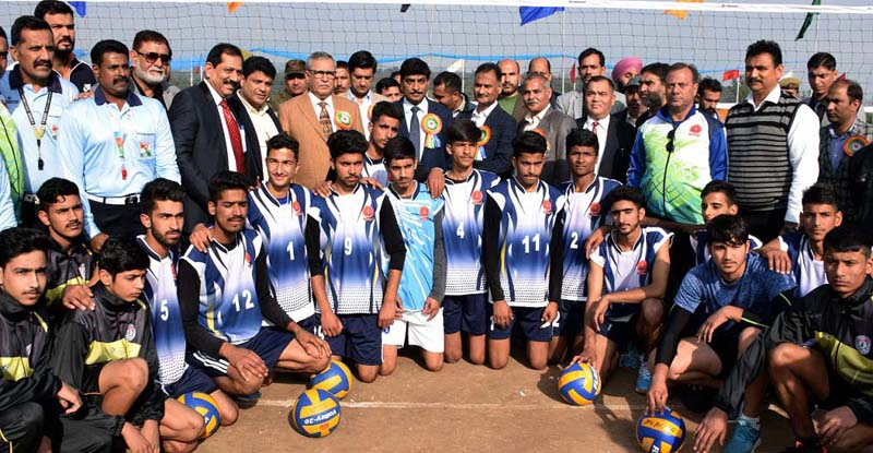 Spikers posing along with Advisor to LG, Farooq Khan and other dignitaries at Khel Gaon in Nagrota.