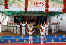 Tiny tots of TAAPS Damana presenting a dance performance during their Annual Day function.