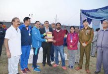 Memento presentation during J&K UT Masters Athletic Meet in Jammu.