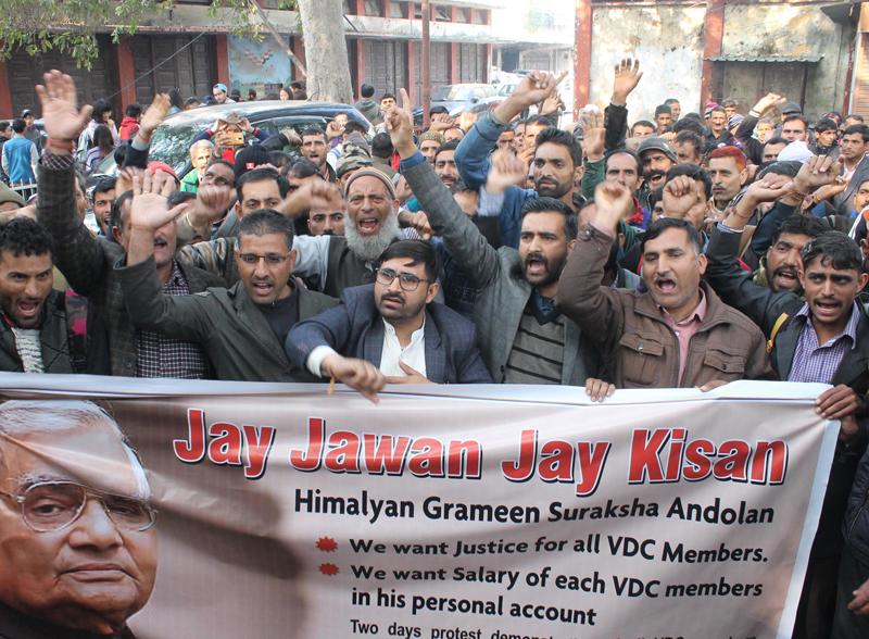 VDC members staging protest near Press Club in Jammu on Thursday. — Excelsior/ Rakesh