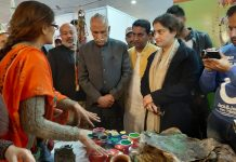 MP Shamsher Singh Manhas during his visit at an exhibition in Kathua on Saturday.