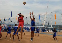 Spikers in action during a match of 65th National School Games at Khel Gaon, Nagrota in Jammu.